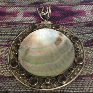 Jewelry - Huge 925 Stamped Pendant Awesome Beauty Abalone